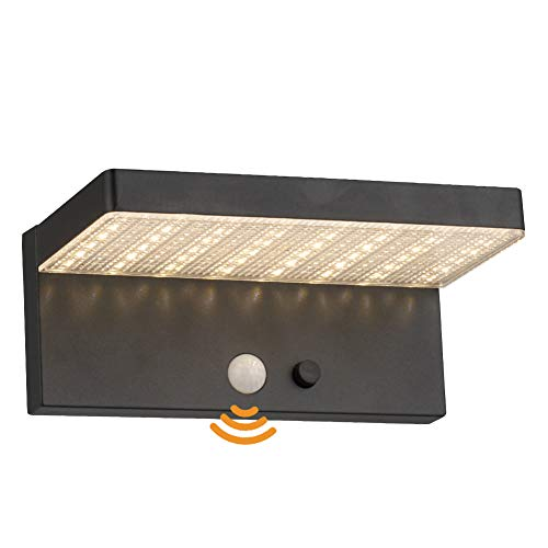 Solarlampen für Außen, Außenleuchte mit Bewegungsmelder, LED Außenlampe für Garten Balkon - Edelstahl, 3000K Warmweiß Licht, 600Lumen, IP44 Dichtung, Bewegungssensor, Energieklasse A+ 【Model 1966】…