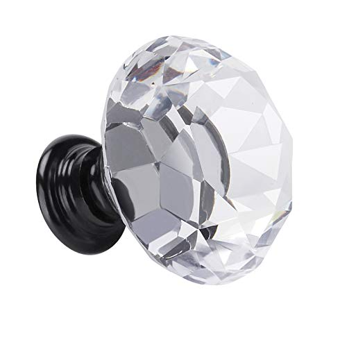 Fensing 10 Pcs 30MM Crystal Clear Glass Cabinet Dresser Knobs Diamond Shape Drawer Door Chrome Glass Cabinet Knobs Pull Handles for Kitchen Office DIY 10 Pack Black