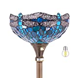 Tiffany Floor Lamp Torchiere Up lighting W12H66 (LED Bulb Included) Sea Blue Stained Glass Crystal Bead Dragonfly Shade Antique Standing Iron Base S622 WERFACTORY LAMPS Lover Living Room Bedroom Gifts