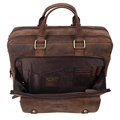 TUSC Oberon Braun Leder Tasche Laptoptasche 14 Zoll 15,6 Zoll Herren Umhängetasche Aktentasche Schultertasche für Büro Notebook Messenger Bag Laptop iPad, Größe- 41x32x13 cm