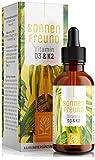 Vitamin D3 + K2 Tropfen - 100% VEGAN - Premium Vitamin D aus pflanzlichen Flechten (ohne tierisches Lanolin) 1.000 IE + Vitamin K2 All Trans MK7. Hochdosiert, geprüft und hergestellt in Deutschland