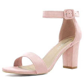 Allegra K Women s High Chunky Heel Buckle Ankle Strap Sandals 7.5 Light Pink