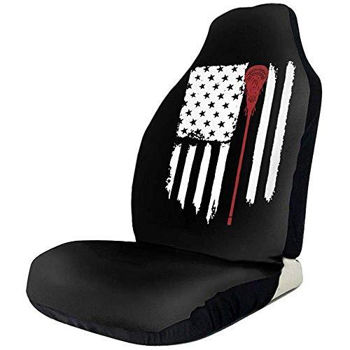 Preisvergleich Produktbild Sobre-mesa Lacrosse Flag American Flag1 Neuartiges Mode-Zeichen Autositzbezüge Komplettsatz 1,  Durable Universal Fit Die meisten Autos,  LKWs,  Geländewagen oder Lieferwagen