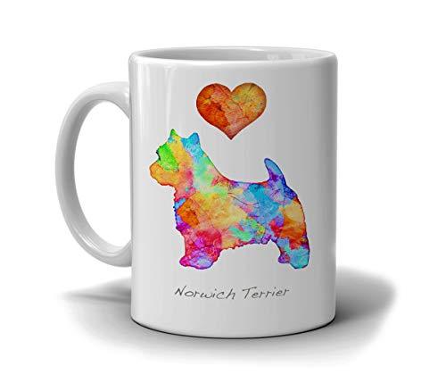 Thomas655 Aquarel-hondenkweek-mok Norwichs Terrier door dan Morris opties. Voeg hondennamen toe in een liefdevolle witte beker, gemaakt om te bestellen