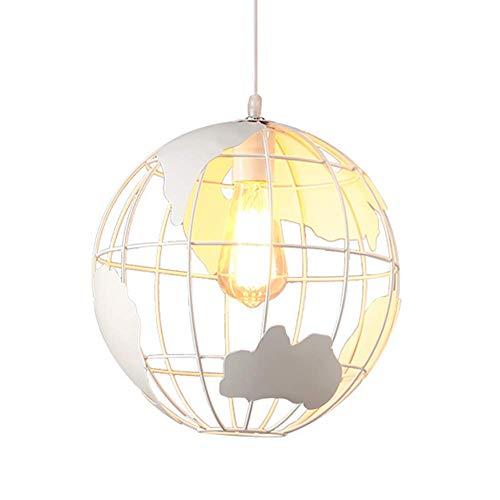 miwaimao Lámpara de araña de estilo vintage retro con forma de bola de hierro E27, lámpara colgante para restaurante, salón o dormitorio, color blanco, 20 cm