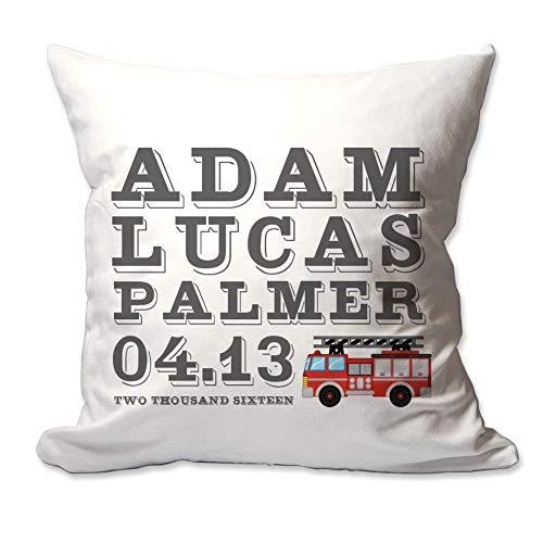 Kysd43Mill Funda de almohada de lona personalizada con diseño de camión de bomberos de bebé con anuncio de nacimiento, 45,7 x 45,7 cm