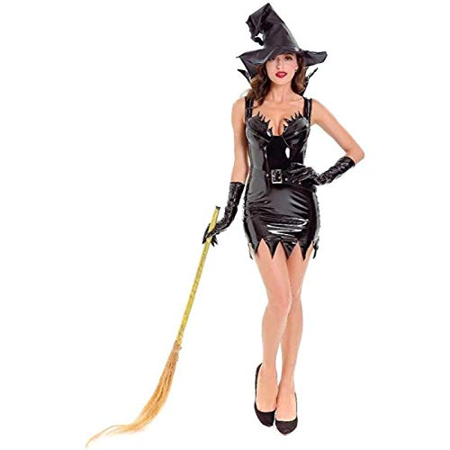 SONGTAO Women Halloween Wicked Witch Costume Leather Clothing,Ladies Party Cosplay Fancy Dress,Gloves Hat,L