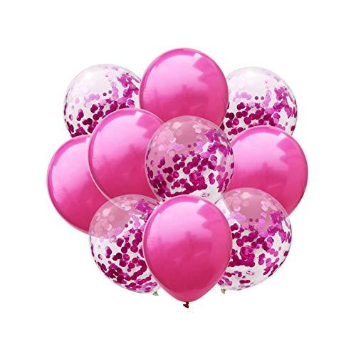 Oblique Unique Konfetti Luftballon Set für Hochzeit JGA Geburtstag Feier Jubiläum Baby Shower Party Deko Ballons Pink