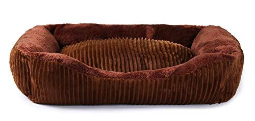 JEMA Rechteckiges Hundebett – Liege für Hunde und Katzen mit Rutschfester und wasserdichter Unterseite, quadratisch, mittelgroß, Kuschelbett, 24-Inch, braun