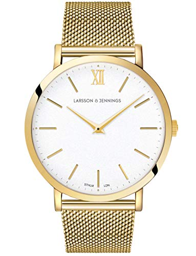 Larsson & Jennings LJXII Lugano Unisex Mens & Womens Watch with 40mm Satin White dial and Gold Gold Plated Stainless Steel Strap LX40-MGD-GW.