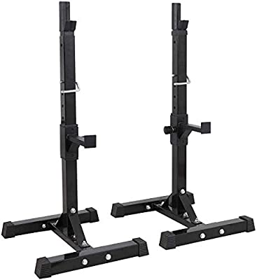YBAO Pair of Adjustable Squat Rack Standard 42-63 Inch Solid Steel Squat Stands Barbell Free-Press Bench Home Gym Portable Dumbbell Racks Stands