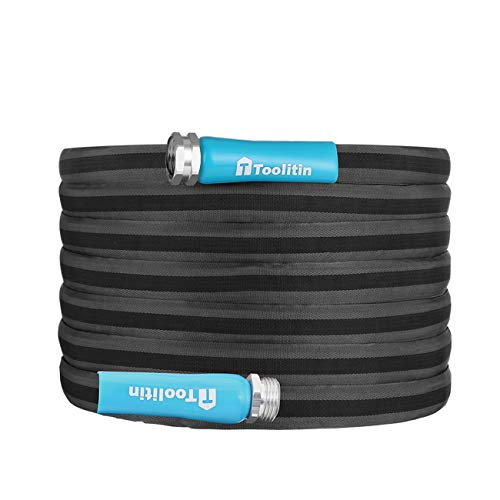Toolitin Garden Hose with Fiber Jacket, Kink-Free, Twist-Free, Non-Expanding, 50ft X 5/8-Inch, Lightweight, RV and Camper High Pressure Hose, Easy To Use (50FT)