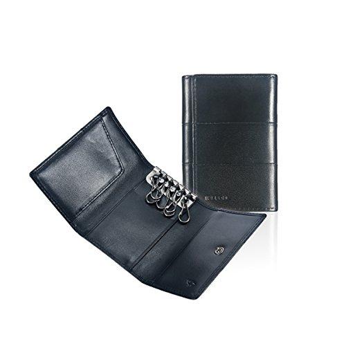 Ikepod Tri-fold Key Wallet/Holder [Full-grain Leather] 6 Hooks & 2 Card Slot - Black