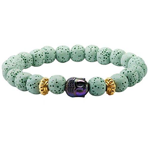 SUNYIK Unisex Light Green Lava Rock Essential Oil Diffuser Bracelet, with Rainbow Buddha Head 7' Strand