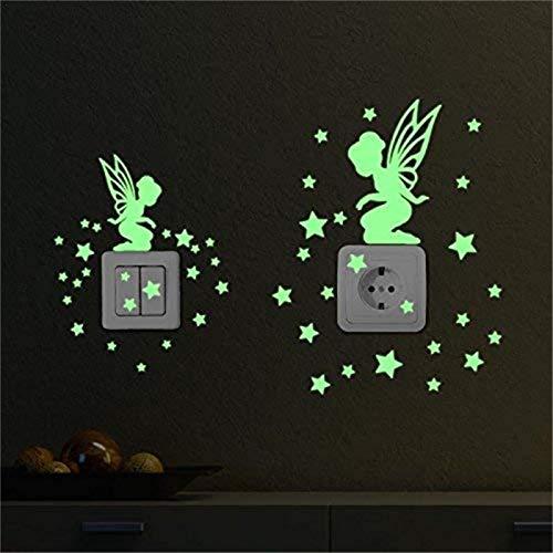 Luminoso Pegatinas De Pared, Flor Luminosa Patrón De Hadas, Luminoso Pegatinas del Interruptor, DIY Fluorescente Decoración De Pared para Dormitorio De Niños (Verde) - Libertey