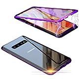 ColiColi Durchsichtig Panzerglas Hülle für Samsung Galaxy S10 5G, 360 Grad Magnetic Handyhülle Doppelseitige Gehärtetes Glas Schutzhülle Ultra Dünn Magnetische Adsorption Kratzfest Bumper, Lila