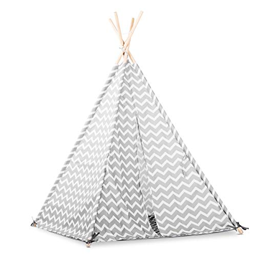 Lalaloom ZIGZAG TIPI - Tipi para niños con diseño nórdico (tienda, campaña infantil de poliéster, estructura de madera natural en el interior y exterior), 120x120x150 cm, color Gris/Blanco