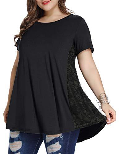 LARACE Women Lace Tunic Top Short Sleeve Flare T Shirt For Leggings(1X, Black)