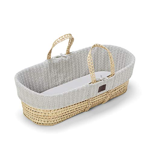 The Little Green Sheep Natural Knitted Moses Basket and Mattress, Dove