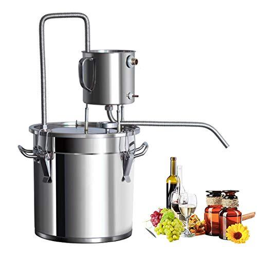 LTLWSH Kit de destilación para destilación casera, alambique destilador con serpentín y termómetro, de Acero Inoxidable, para la destilación de Agua, Alcohol, Vino y aceites Esenciales,50L