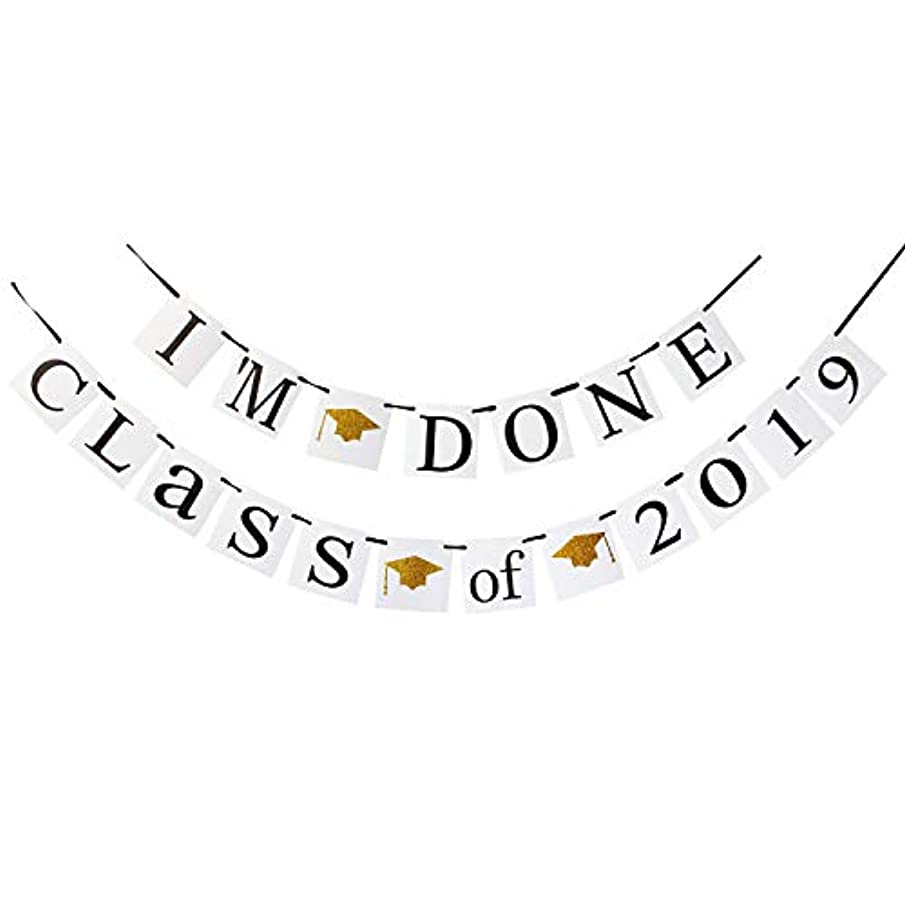 LINGPAR I'm Done of 2019 Congrats Banner - Perfect Graduation Decorations Party Supplies for Grad Party Bunting White Black