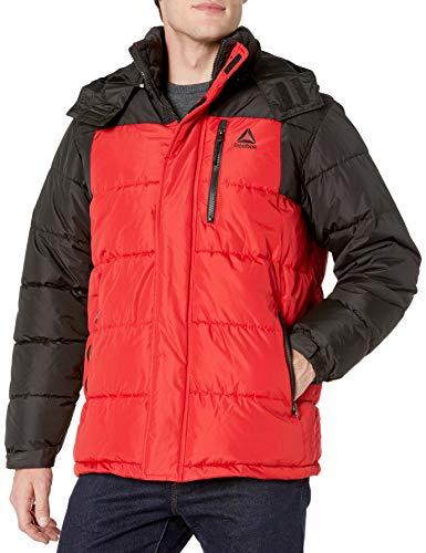Reebok Men's Heavy Weight Hooded Bubble Jacket, Strong Black/Red, L