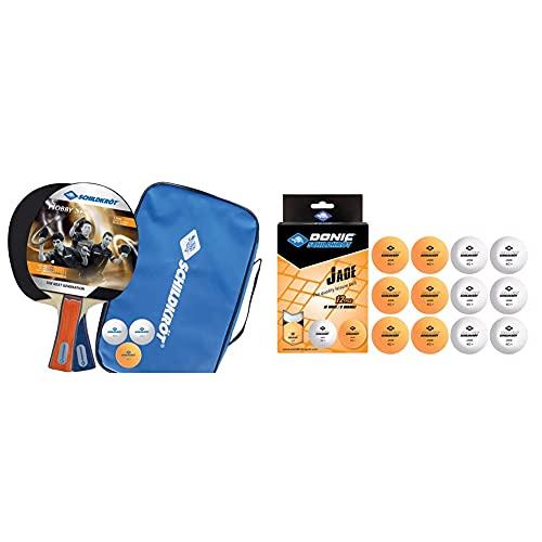 Donic-Schildkröt Tischtennis-Set Hobby, für 2 Spieler (2 Schläger, 3 Bälle), 788602 & Unisex– Erwachsene Tischtennisball Jade, Poly 40+ Qualität, 12 STK. im Polybag, 6 x weiß / 6X orange, M