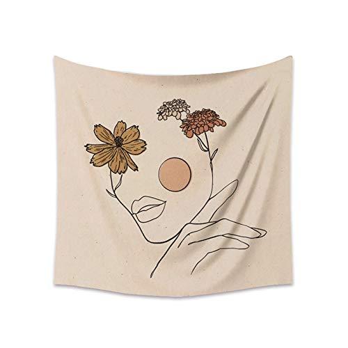 KHKJ Tapiz para Colgar en la Pared, tapices de línea de Flores de Luna para Sala de Estar, Dormitorio, Arte de Pared, Fondo, decoración del hogar, A8, 95x73cm
