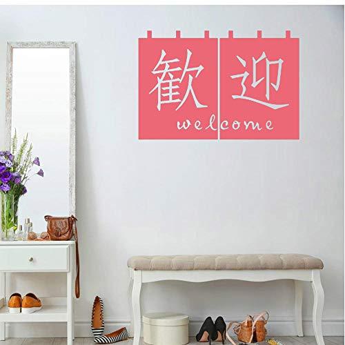 Willkommen Kalligraphie Wandtattoos Wohnkultur Kunst Aufkleber Chinese Shop Store Restaurant Abnehmbare Mode Wandbild Design Rot 57X81Cm