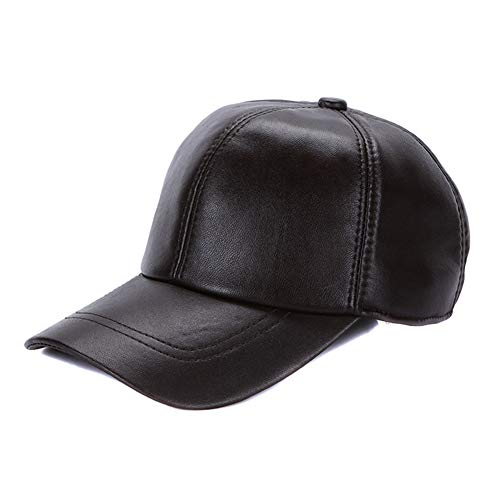 Sandy Ting Leather Baseball Cap Cool Hats Adjustable Unisex Ball Cap (Brown)