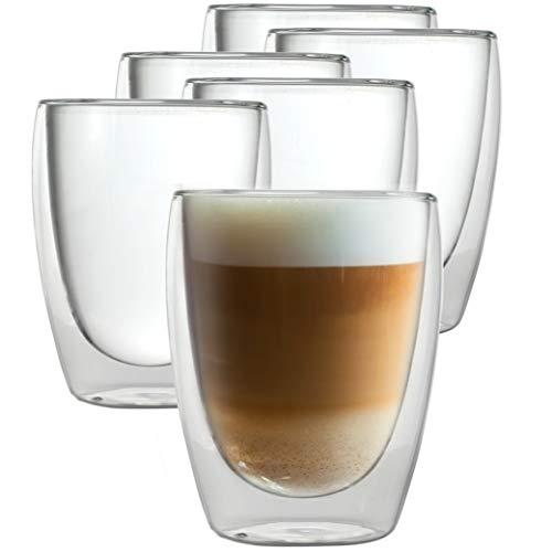 Caffé Italia Torino - 6X Tasse Verre Double Paroi 250 ML - Tasse a Cafe pour de Latte Macchiato, Boissons Chaudes et Froides - Lavable au Lave-Vaisselle.