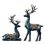 CFSN Stag Sculptures Décorations de la Maison Modernes Articles Accessoires Christmas, Deer Statue Figurine Abstrait Blue Cheminée Fenêtre Chambre à Coucher Chambre à Coucher Grande Maison 0919