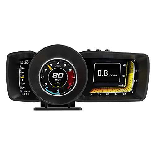 Clenp Pantalla HUD, AP-7 OBD GPS Smart Gauge HUD Display con alarma LCD LCD OBD2 GPS tacómetro para coche