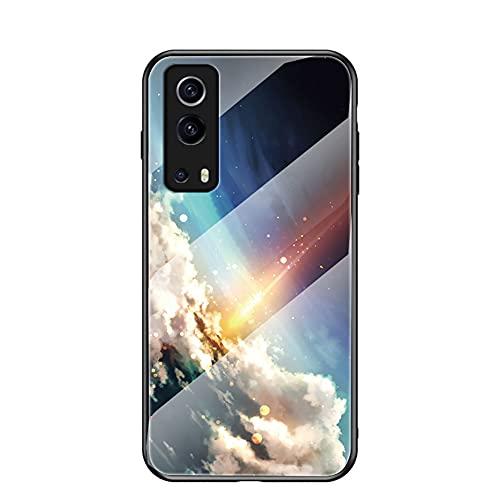 SHIEID Funda para Vivo Y72 5G/Vivo iQOO Z3 Cubierta de Cristal Degradado de Color Caja de Vidrio Templado Case Cover para Vivo Y72 5G/Vivo iQOO Z3 (Brillante Estrellado)