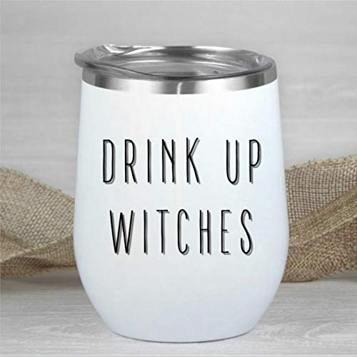 Trinken Sie Hexen Halloween Weinglas Halloween Themed Travel Mug Rae Dunn Farmhouse inspiriertes Geschenk doppelwandig Edelstahl stemless isoliert Weinglas 340 ml Kaffeebecher