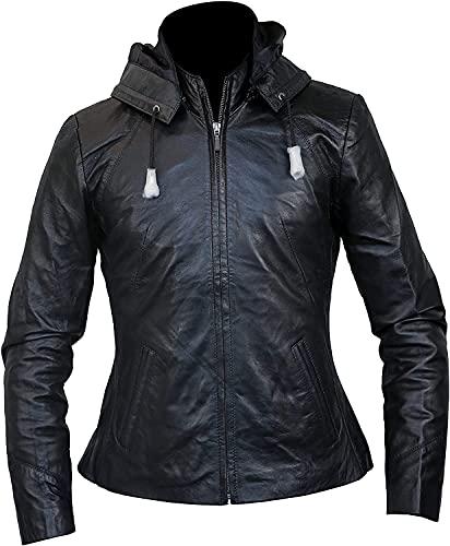 Veste à capuche en cuir pour femme avec fermeture éclair amovible - Noir - Medium