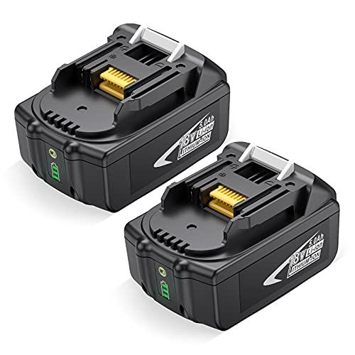 OMBAR 2pcs 5000mAh 18V Litio Batería, Compatible con Makita BL1850 BL1860 BL1860B BL1850B BL1840 BL1830 BL1845 BL1835 LXT-400, 194204-5, 194205-3, con Indicador