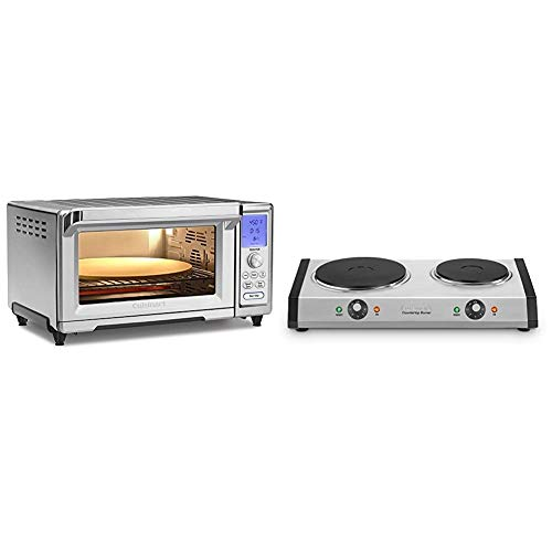 Cuisinart TOB-260N1 Chef's Convection Toaster Oven, Stainless Steel & Cast-Iron Double Burner, 11.5'(L) x 19.5'(W) x 2.5'(H), Silver