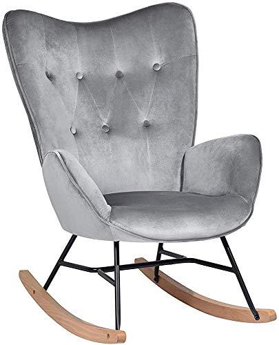 Mecedora mecedora, asiento tapizado, ropa reclinable silla de salón con botones decorativos espalda...