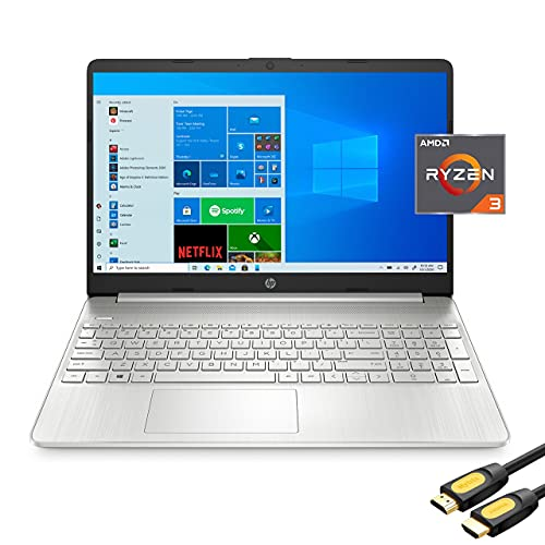 """HP 15.6"""" FHD Micro-Edge Slim Laptop, AMD Dual-Core Ryzen 3 3250U (Beat i3-10110U), 16GB RAM, 512GB SSD, USB-C, HDMI, Wi-Fi, Webcam, HP Fast Charge, SD Reader, Mytrix_HDMI Cable, Win 10"""
