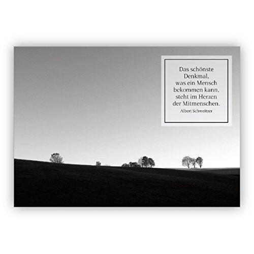 stille rouwkaart/condoleenkaart in zwart wit en Albert Zwitserse citaat: het mooiste denking, wat een mens is. – Hartelijk bedankt premium uitklapbare kaart om te condoleren.