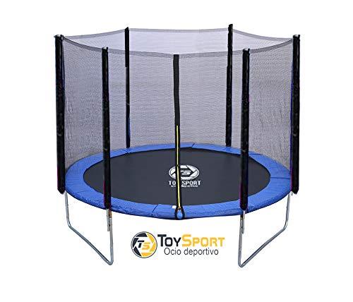 BC BABY COCHES Cama Elastica Toy Sport, Trampolin de 185 cm, Estructura Reforzada Acero galvanizado, Red Proteccion, Cierre Cremallera, Color predominante Azul.