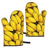 BONRI Manojo de plátanos maduros Fondo Guantes de microondas Un Juego de 2 Manoplas de Horno,...