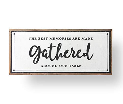 the best memories are made gathered around the table, Large Dining Room Sign, Farmhouse Decor, Framed Sign, Dining Room Sign 39 x 18