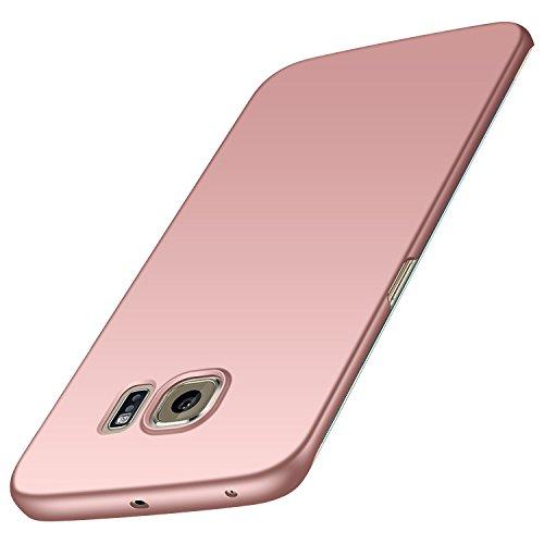 Avalri Funda para Samsung Galaxy S6 Edge, Diseño Minimalista Estuche Rígido Ultra Delgado de PC a Prueba de Golpes Resistente a Rasguños Cover para Samsung Galaxy S6 Edge (Oro Rosa Liso)