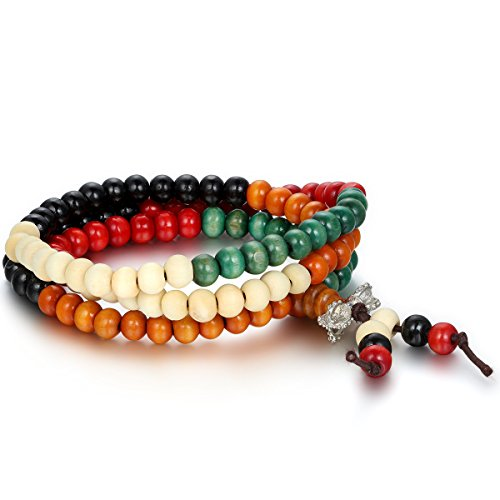 Flongo 6mm Breit Holz Gebetskette Mala Armband Halskette Tibetisch Buddhismus Vajra Meditation, Buddha Armreif Kette für Damen und Herren, Mehrfarbig