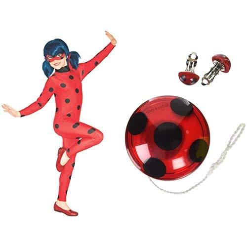Rubies Ladybug - Disfraz para nios, Talla M (5-6 aos) + Ladybug - Peluca complemento de disfraz infantil, talla nica ( Spain 32929)