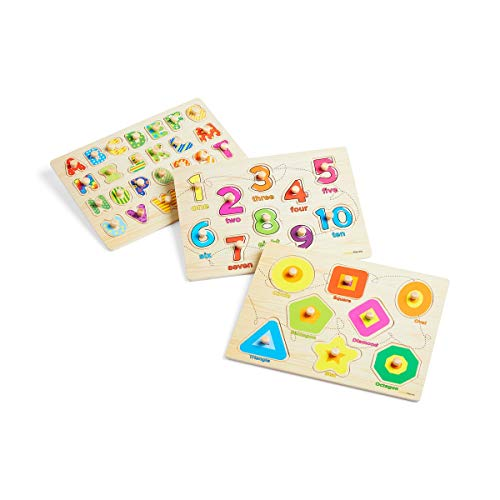 Wooden Peg Puzzle for toddlers - 3 Piece puzzle set for kids - Alphabet ABC, Numbers and Shapes Toy - Perfect pegged puzzles for kid learning letters, number, shape board puzzles for toddler ages 3+