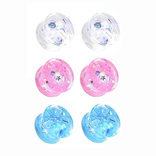 Jboyanpei 6 unids/3 pares de medidores de oído de acrílico Twinkle dilatadores de dilatación doble acampanado tamaño 6 mm a 30 mm