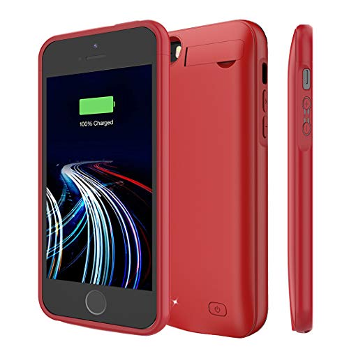 Battery Case for iPhone 5/5S/SE, 4500mAh Portable Rechargeable Battery Pack Charger Case Compatible with iPhone 5/5S/SE Extended Charging Case Protective Power Bank Backup Cover (Red)